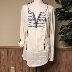 Lucky brand top large boho pullover embroidered